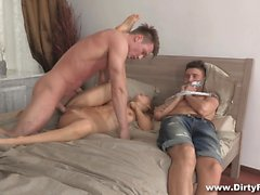 Cheating BF is tied and gagged as he watches his GF take a pounding from a ripped stud