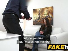 Fake Agent Innocent sexy brunette likes riding cock