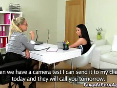Girl agrees to a girl on girl casting