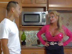 Big busted Taylor Wane fucks on the kitchen floor