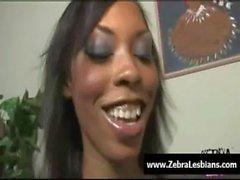 Zebra Lesbians - Sexy ebony lesbians fuck with strap-on toy 19