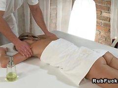 Slim brunette hottie bangs masseur