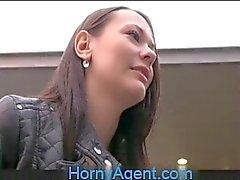 HornyAgent Pretty brunette fucked outside on wasteland