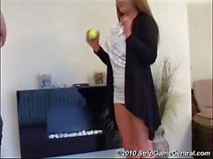 Two babes playing the Ball Balancing Strip Game and getting naked