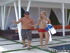 Skinny bikini girl Marley flashes her pussy on a boat