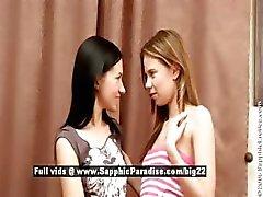 Bethany and Sasha slim superb lesbos licking pussy