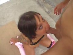 Two latinas suck and facial in the garage