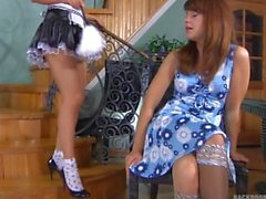 Rosa and Jessica on the stairway - Backdoor Lesbians