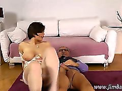Stockings slut rides old guys cock