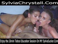 Shy Pigtail Cumslut Teen-Milf Sisters Double Blowjob Sylvia Chrystall POV.
