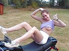 Cute Chick Takes Nude Photos On Bike
