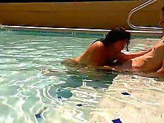 Hotel pool blowjob caught!