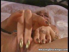 Amazing Stockings - blonde MILF in blue stockings