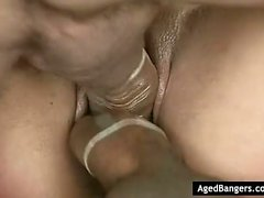 Horny blonde dealing with 3 men
