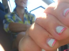 sweaty soles and long toes in car . very cool :)