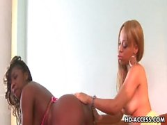 Sexy black lesbian toying!