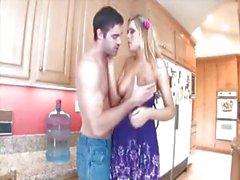 Sexy young blonde babe plays with herself then gets drilled in the kitchen