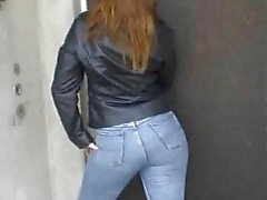 leather jacket jeans ass