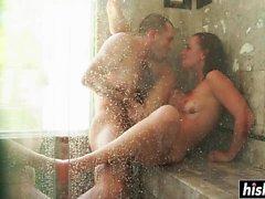 Bathroom anal fucking for Aidra Fox