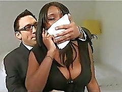 Two ebony babe fucked by one lucky huge cock !