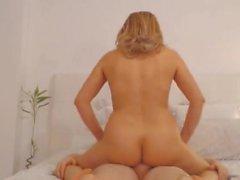 Blonde Babe Rides Her BF Huge Rod