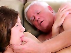 Juicy young chick enjoys getting old knob in pussy