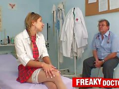 Shy school girl Rachel Evans has to suck on school doctor penis