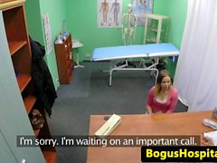 Busty euro patient cocksucks bogus doctor