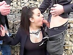 Cerise gangbanged in fishnet