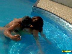 Big boobed nude brazilian slut Mayara Shelson has fun by the pool