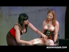 Femdom Lesbian Latex Stocking Electro Play