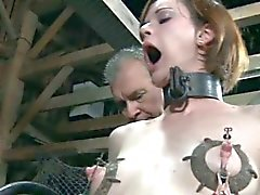 Bondage sub electric play while on dildo machine