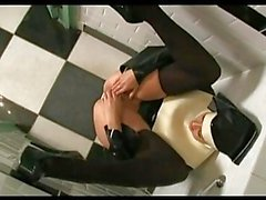 Hot ass milf nun in stripper shoes and stockings fisting her shaved beaver