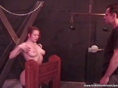 Horny slut gets her tits spanked hard