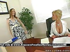Mature busty blonde slut at work