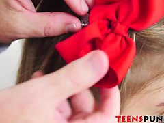 Slutty teen Brooke Lynn gets a facial after a rough pounding