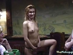 Blonde gets naked in the restaurant