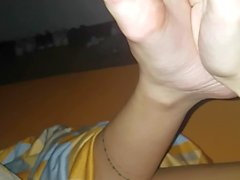 Play with girlfriend feet at night