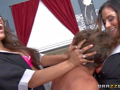 Sinful Latina maids Ariella Ferrera and Jynx Maze share a boner