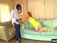 Young babe pleases a black guy
