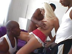 Hottie Trina Michaels gets pawed at by 3 black studs