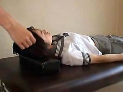 Doctor gives a schoolgirl a nasty full body exam in his off