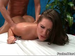 Cute brunette babe gets her cunt fucked