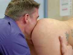 Cute nurse Mischa Brooks gets her neat trimmed pussy fucked
