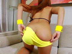 Thai ladyboy jerking off her hard dick