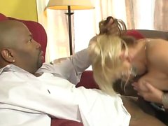 Blonde in stockings gets blacked hard
