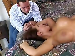 Kinky brunette wife with amazing big boobs enjoys wild cuckold action