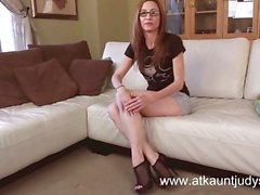 Very sexy fit Milf in glasses masturbates on camera