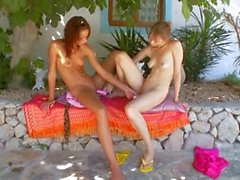 Two russian lezz girls dildoing