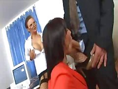 Secretary threesome with two cuties in sexy lingerie and heels
